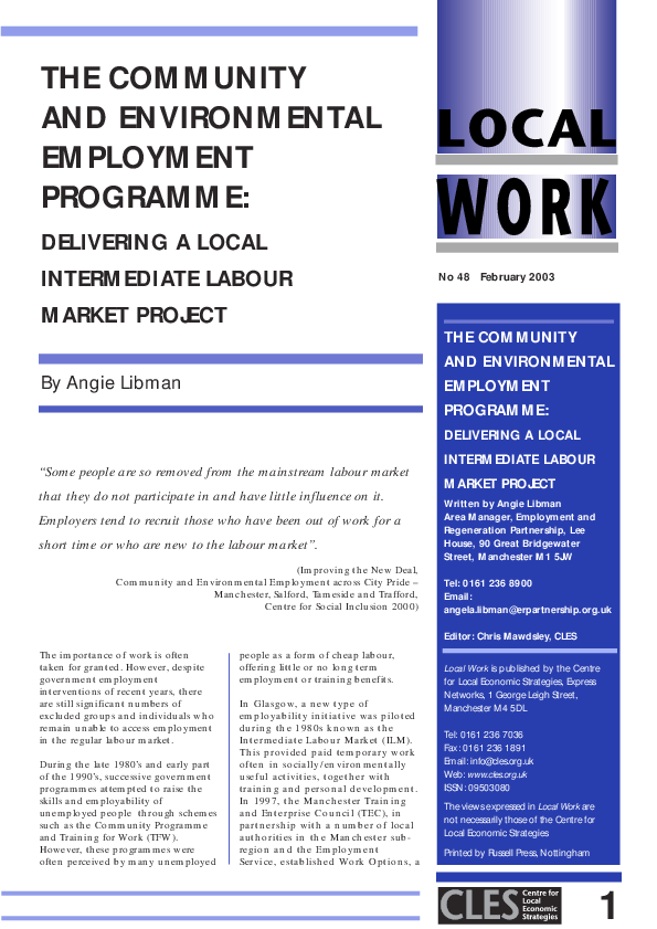 The Community and Environmental Employment Programme | CLES