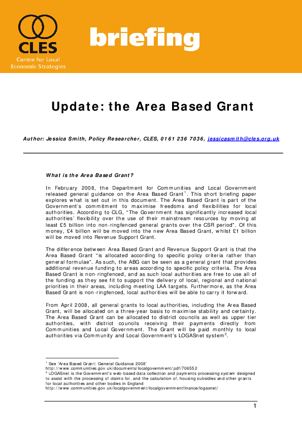 Update: the Area Based Grant | CLES