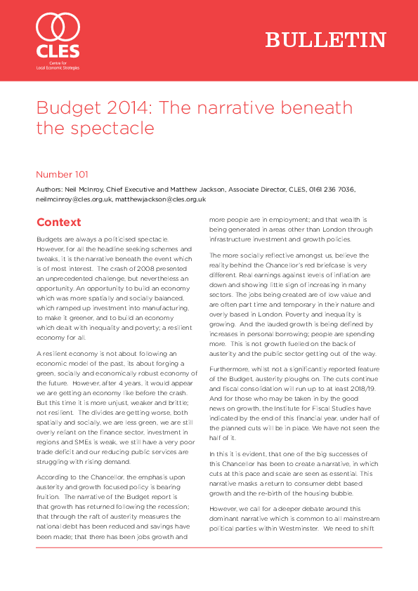 Budget 2014 The Narrative Beneath The Spectacle Cles