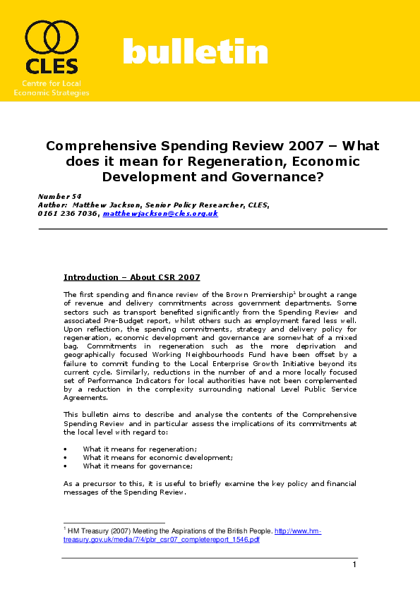 B54 Comprehensive Spending Review 2007 What Does It Mean For